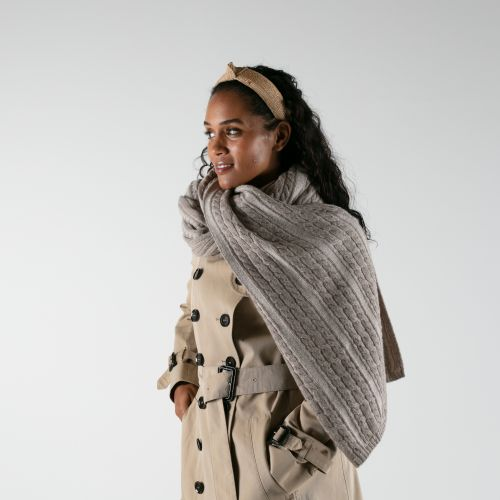 Flaxen Earth  Beige cashmere Blanket