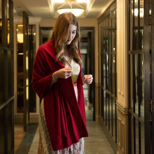 Carnelian Red Silk Wool Wrap