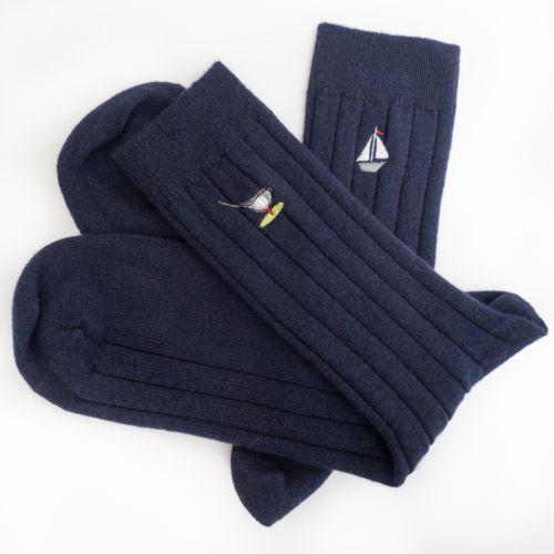 Mens Indigo Cashmere Socks