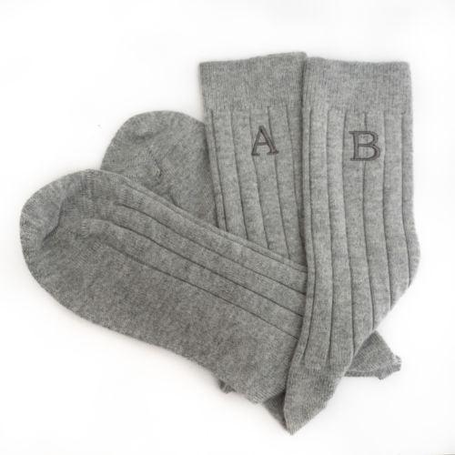 Mens Silver Cashmere Socks