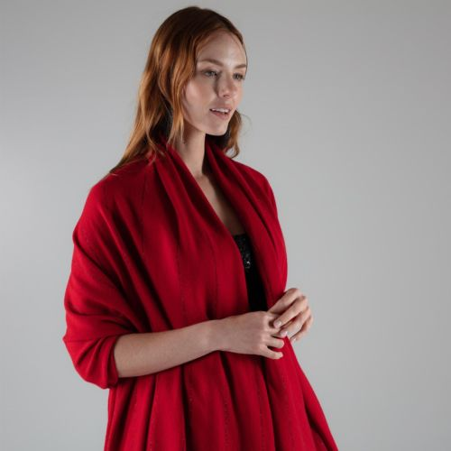 Parallel Rouge red cashmere wrap