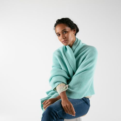 Serenity Turquoise Cashmere Blanket