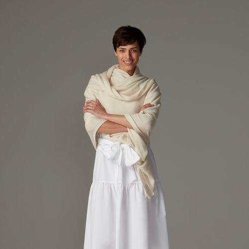 Peony white classic cashmere wrap
