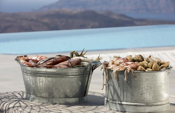 Buckets of fresh seafood, Erosantorini