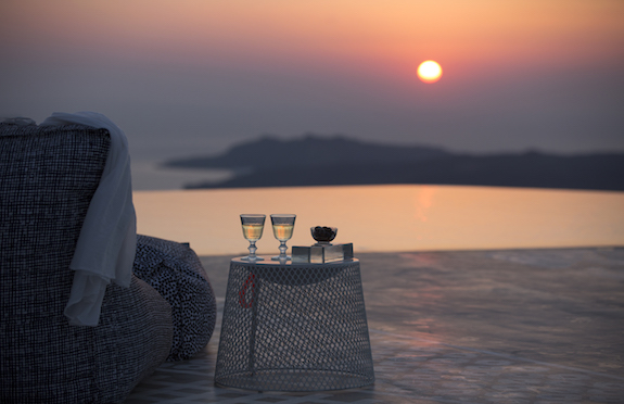 Terrace at sunset, Erosantorini
