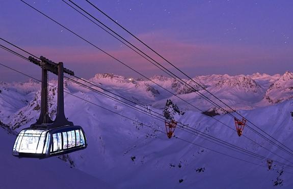 Cable car at dawn, Arosa