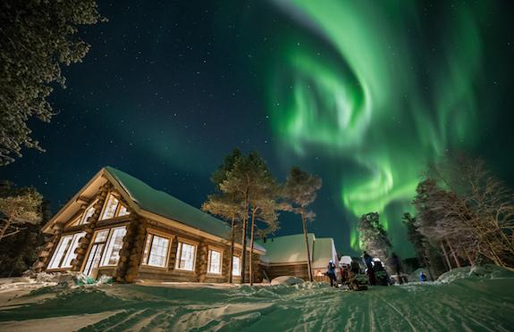 Northern Lights above Hotel Nangu, Finland