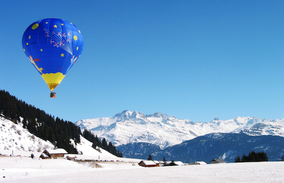 Hot air balloon over the Alps