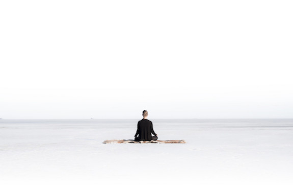 Meditating on the ice in Swedish Lapland