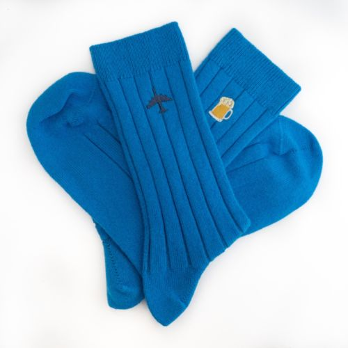 Mens China Blue Cashmere Socks