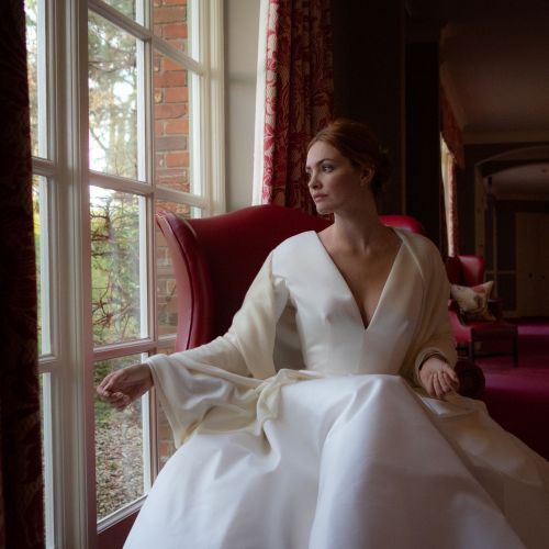Bridal ivory silk infused shawl