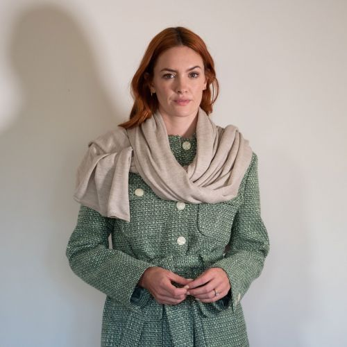 Natural silk infused cashmere wrap